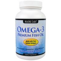 Madre Labs, Омега-3 Премиальный рыбий жир, 100 желатиновых капсул